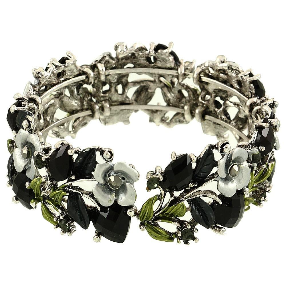 Floral Colorful Resin & Rhinestone Bangle Bracelet | Black - Lunga Vita Designs