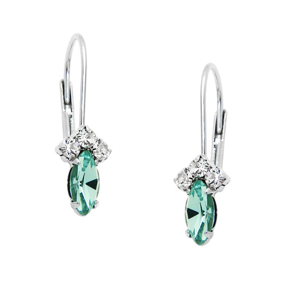 PETITE RHINESTONE AND CRYSTAL LEVERBACK -AQUA