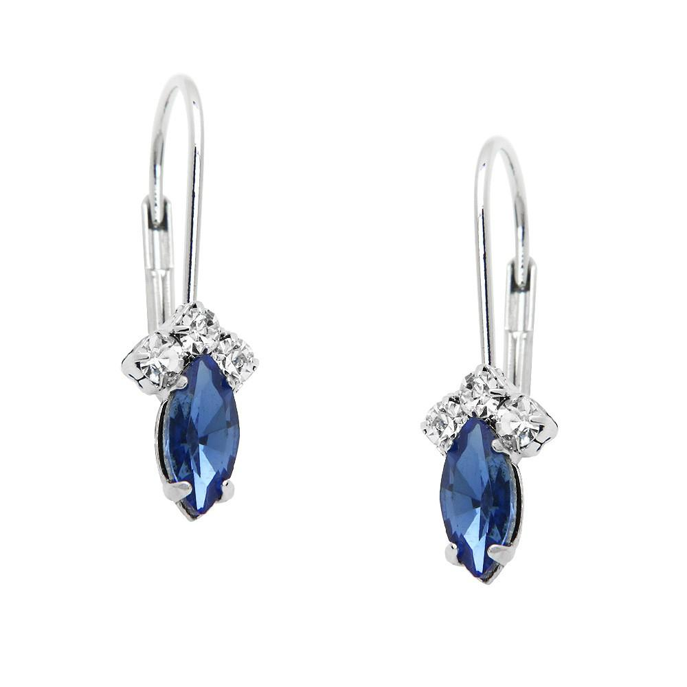 Petite Rhinestone and Crystal Lever Back Earrings | Sapphire - Lunga Vita Designs