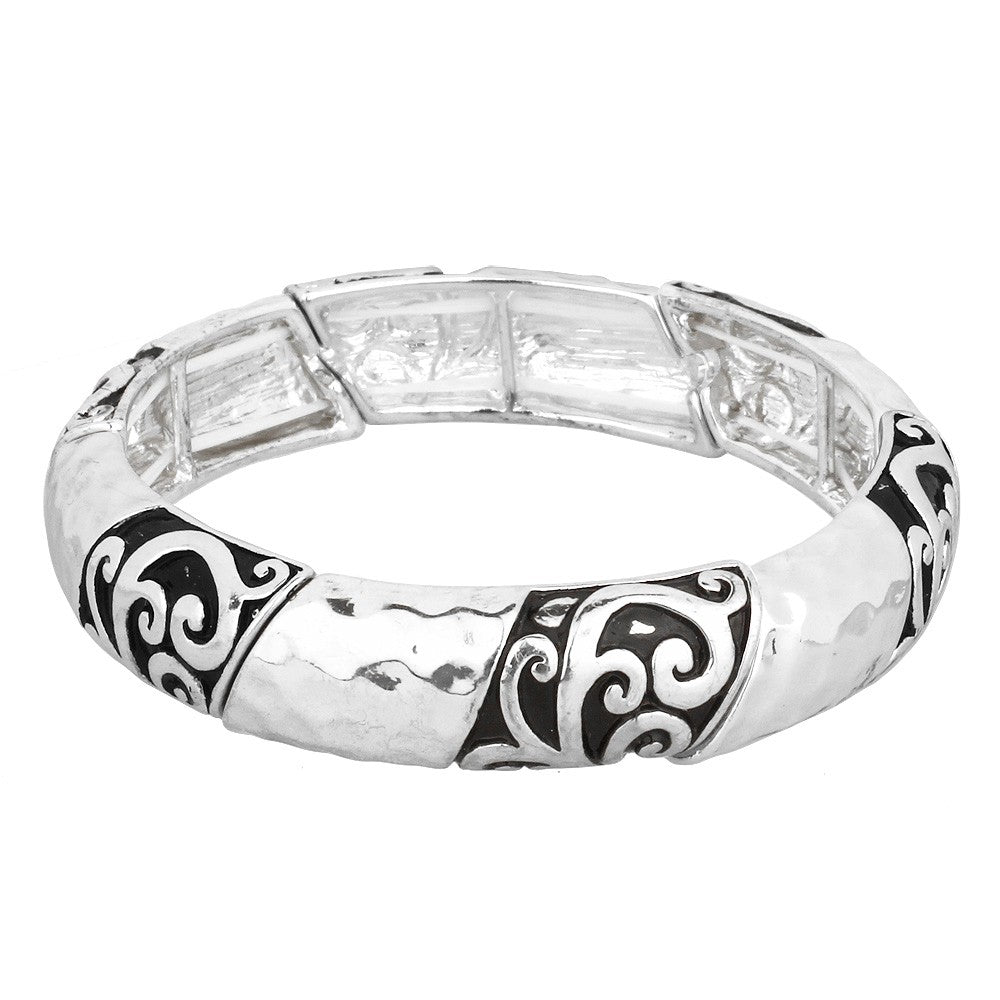 Chunky Hammered and Filigree Patterned Stretch Bracelet | Silver - Lunga Vita Designs