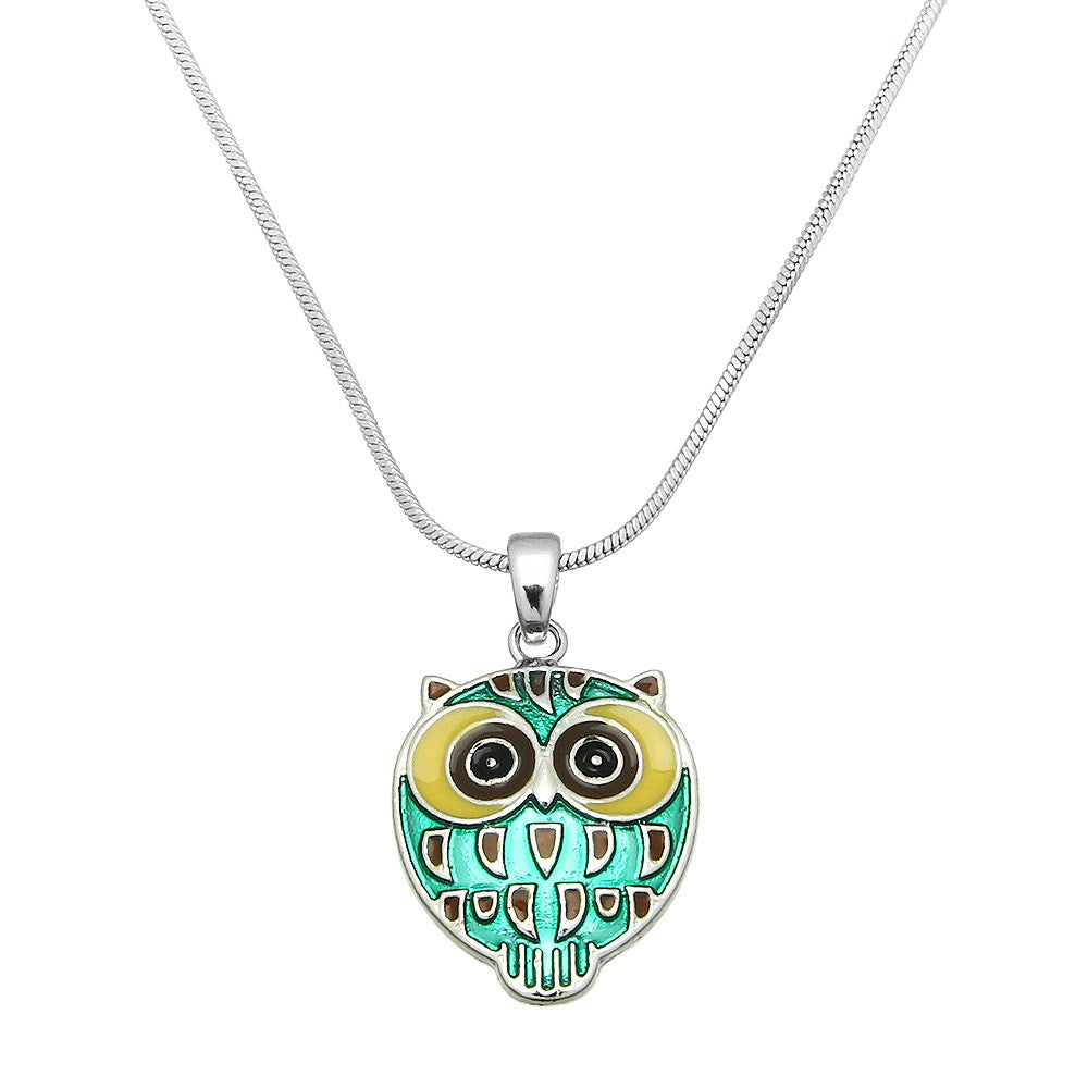 Playful Green Enamel Owl Pendant Necklace - Lunga Vita Designs