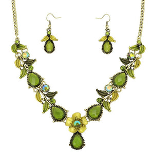 FLORAL NECKLACE SET - GREEN THIN