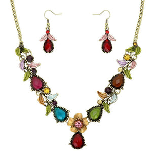 FLORAL NECKLACE SET - MULTICOLORED - THIN - GOLD