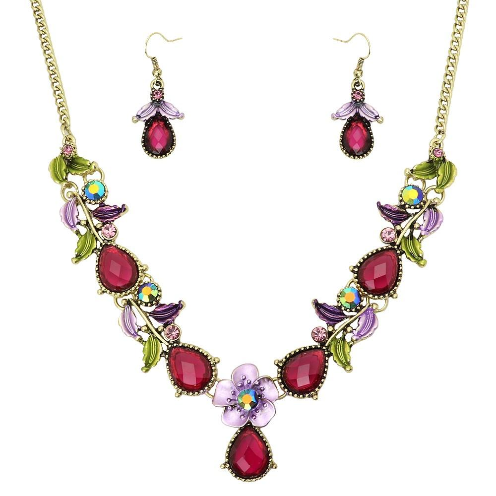 Floral Colorful Resin & Rhinestone Necklace & Earrings Set | Purple - Lunga Vita Designs