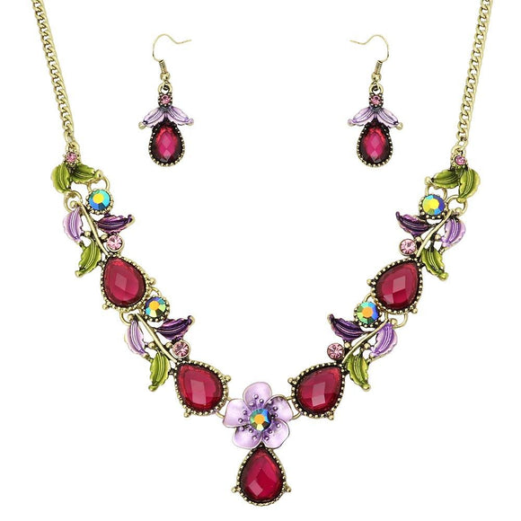 FLORAL NECKLACE SET - PURPLE - THIN