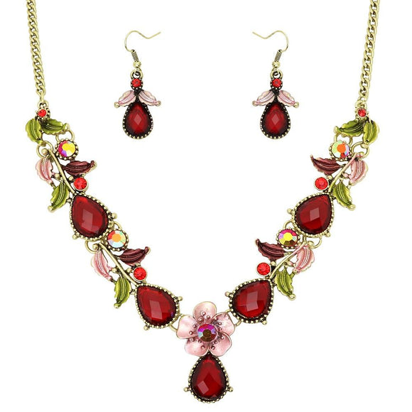 FLORAL NECKLACE SET - RED - THIN
