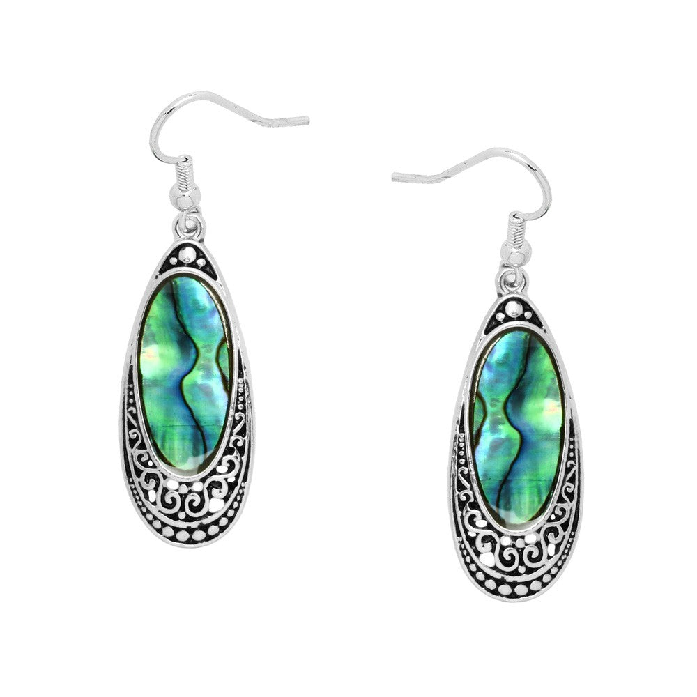 Abalone Thin Silver Teardrop Dangle Earrings - Lunga Vita Designs