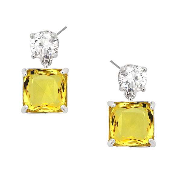 Clear Cubic Zirconia Post with Yellow Square CZ Dangle - Lunga Vita Designs
