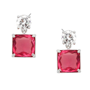 CUBIC ZIRCONIA SQUARE POST DANGLE - PINK