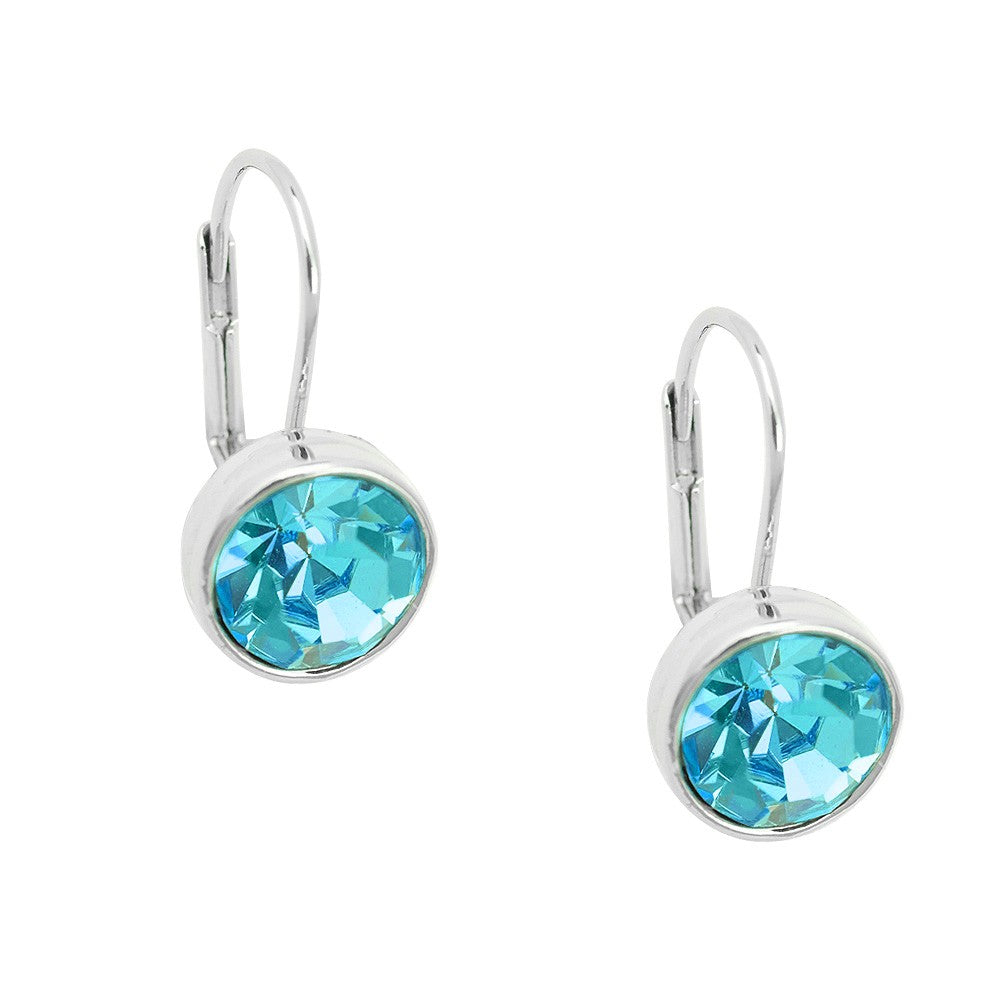 Essential Everyday Crystal Lever Back Earrings | Aqua - Lunga Vita Designs