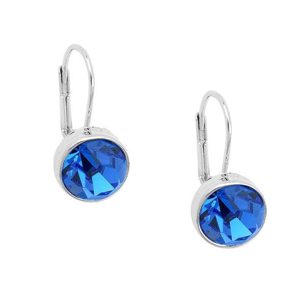 Essential Everyday Crystal Lever Back Earrings | Sapphire - Lunga Vita Designs