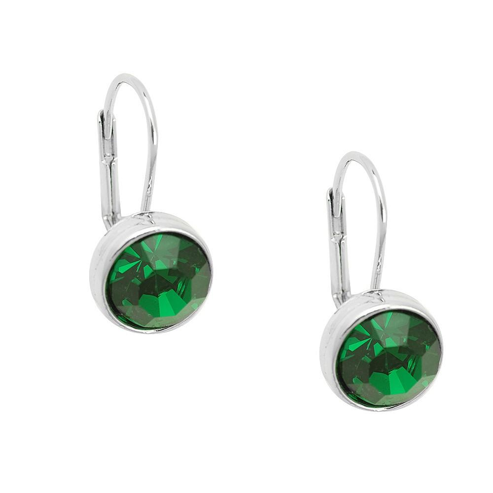 Essential Everyday Crystal Lever Back Earrings | Emerald - Lunga Vita Designs