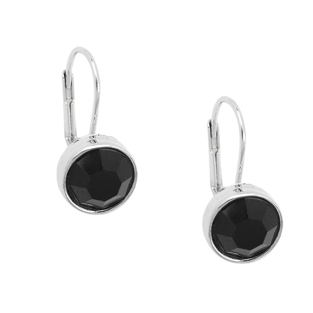 Essential Everyday Crystal Lever Back Earrings | Black - Lunga Vita Designs