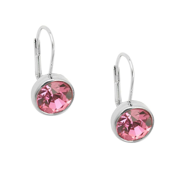 Essential Everyday Crystal Lever Back Earrings | Pink - Lunga Vita Designs