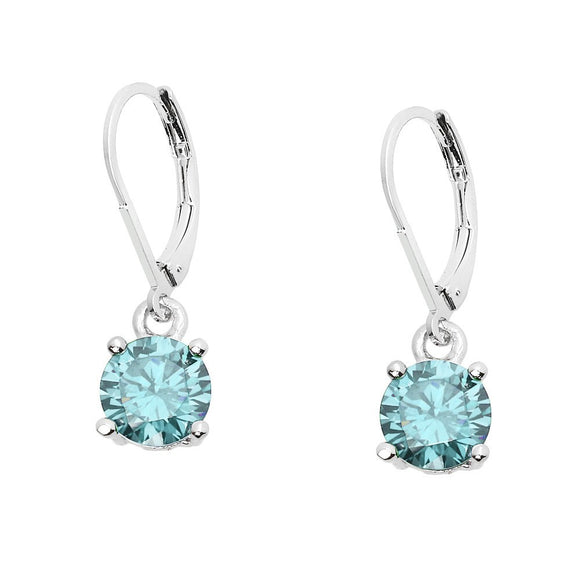 BASIC ESSENTIAL TOUCH OF COLOR LEVERBACK EARRING  | AQUA