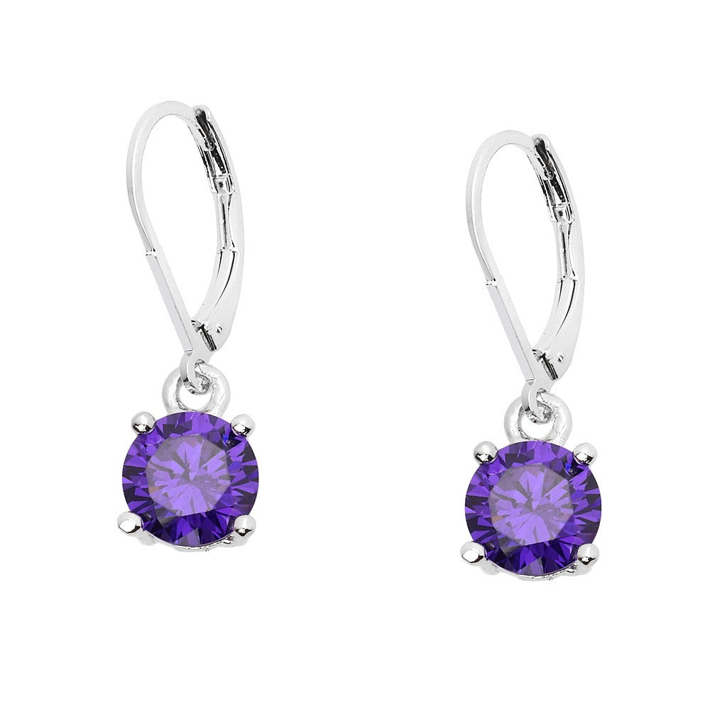 Basic Essential Touch of Color Lever Back Earrings | Purple - Lunga Vita Designs