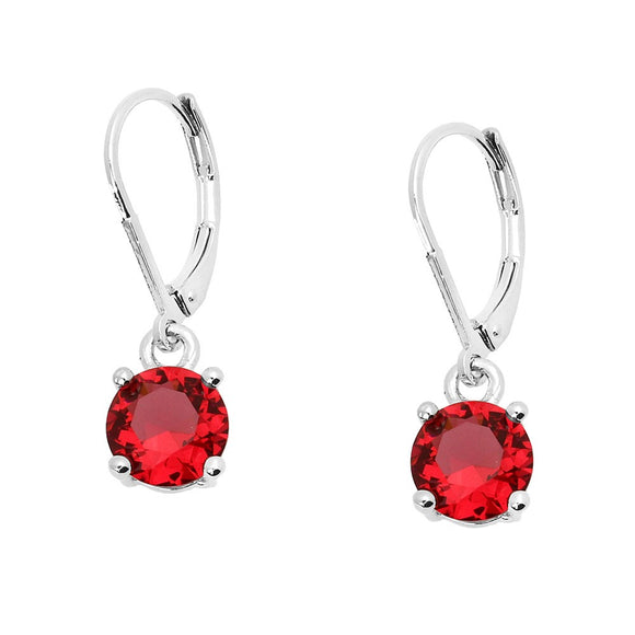 BASIC ESSENTIAL TOUCH OF COLOR LEVERBACK EARRING  | RED