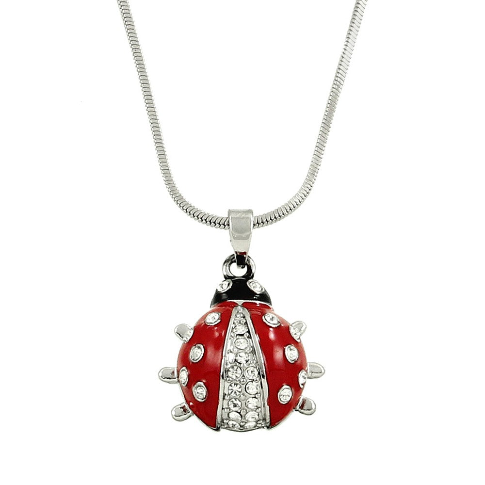 Lady Bug Pendant Necklace with Clear Crystals - Lunga Vita Designs