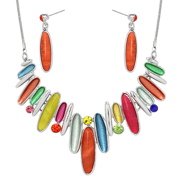 MULTICOLORED RESIN SILVER NECKLACE SET