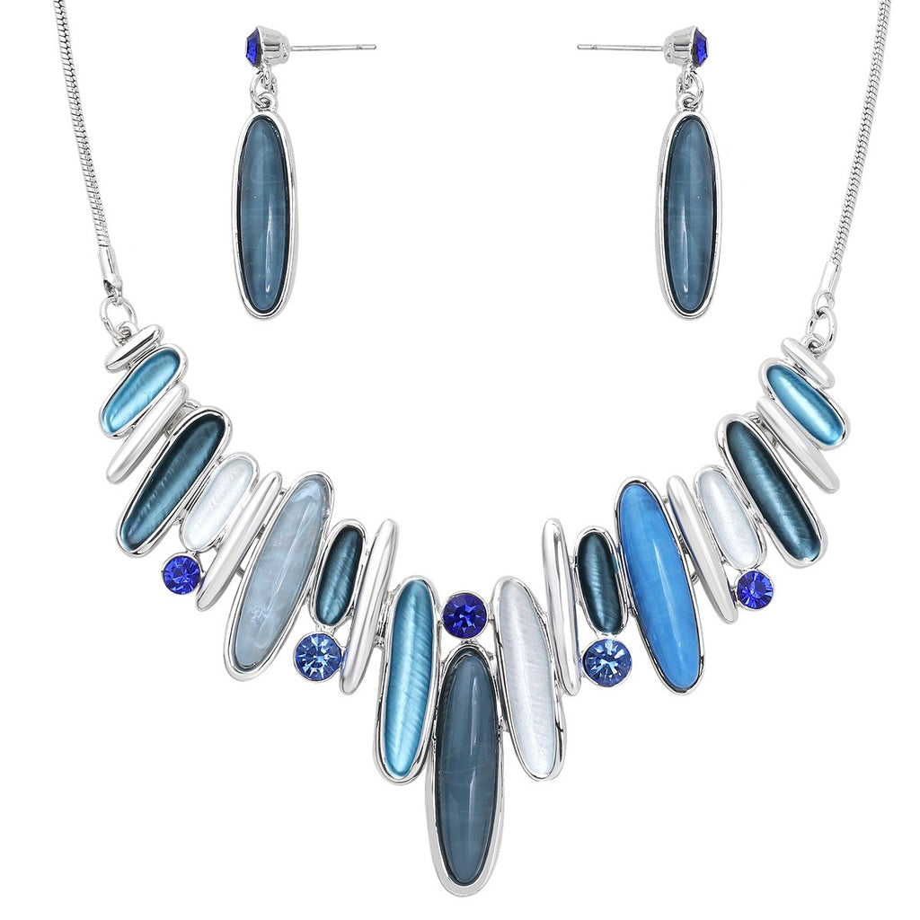 Shades of Blue Necklace Set with Matching Dangle Post Earrings - Lunga Vita Designs