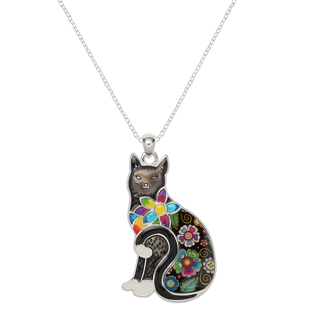Enamel Flowered Sitting Cat Necklace | Black - Lunga Vita Designs