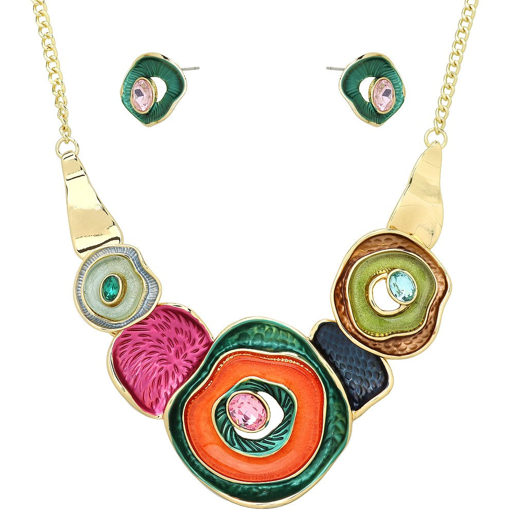 Colorful Enamel Multiple Circle Statement Necklace with Matching Earrings | Gold-Multicolor - Lunga Vita Designs