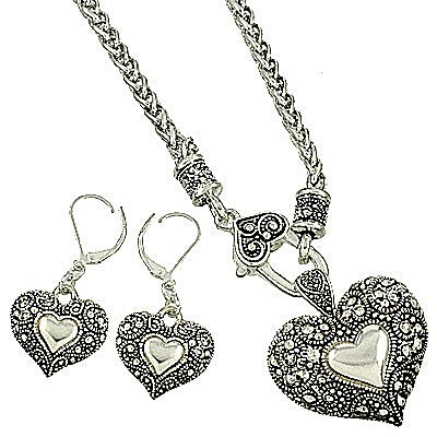 Vintage Looking Silver Heart Necklace Set with Matching Dangle Earrings - Lunga Vita Designs