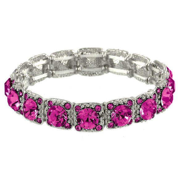 CRYSTAL STRETCH BRACELET - FUCHSIA