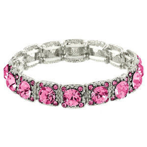 CRYSTAL STRETCH BRACELET - PINK