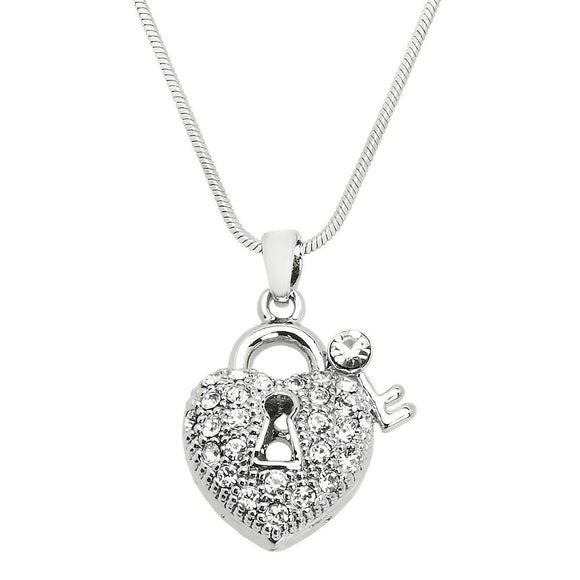 PAVE' CRYSTAL HEART WITH LOCK AND KEY