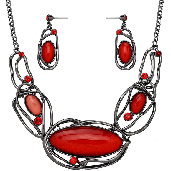 ARTISTIC RESIN OVAL STATEMENT NECKLACE SET | RED