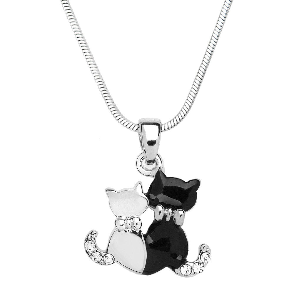 Black and White Enamel Cat Duo Necklace - Lunga Vita Designs