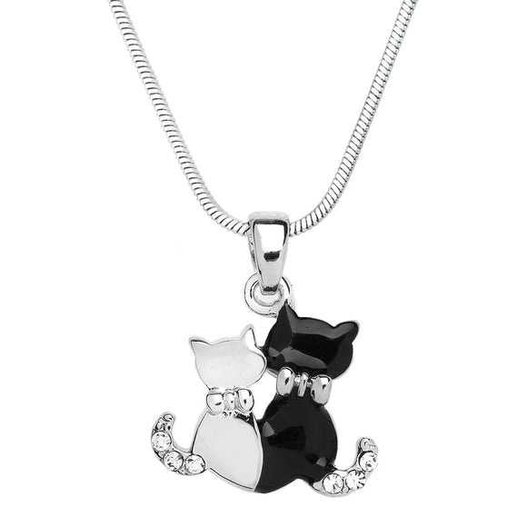 BLACK AND WHITE CAT DUO ENAMEL NECKLACE