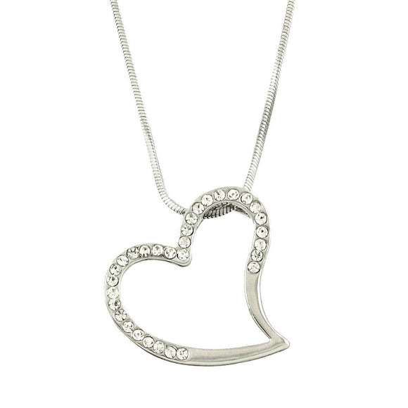 Classic Side Hanging Open Heart Necklace - Lunga Vita Designs