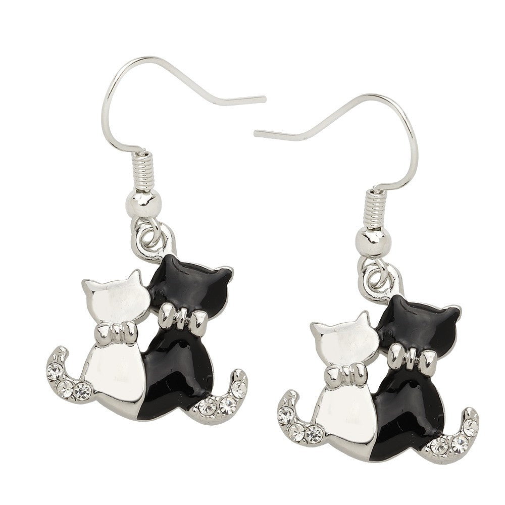 Black and White Enamel Cat Duo Earrings - Lunga Vita Designs