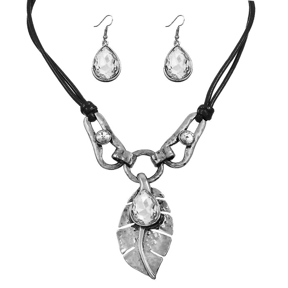 Silver Textured Leaf Necklace with Teardrop Crystal Earrings Set - Lunga Vita Designs