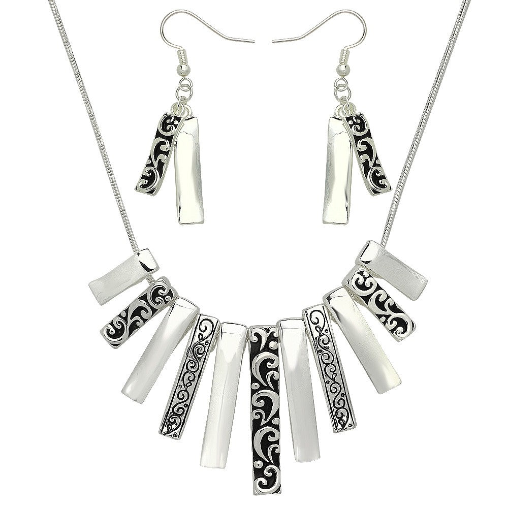 Patterned Silver Bar Statement Necklace Set - Lunga Vita Designs