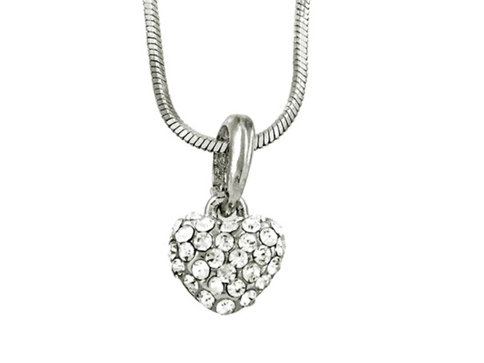 ROMANTIC PETITE PAVE HEART NECKLACE - Lunga Vita Designs