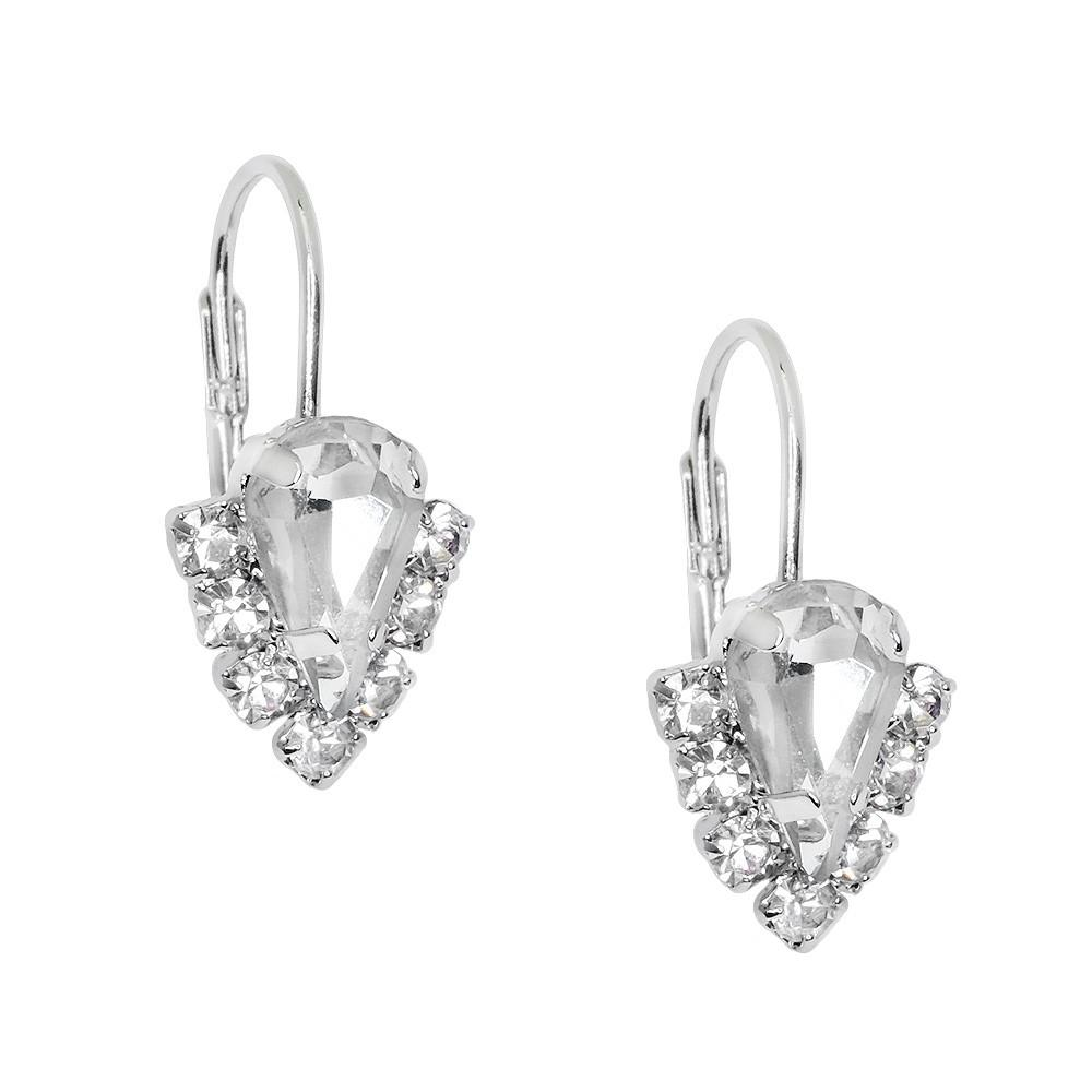 Crystal Earrings with Rhinestones | Clear - Lunga Vita Designs