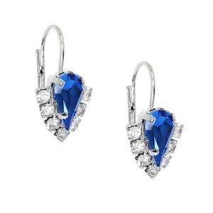 CRYSTAL EARRINGS WITH RHINESTONE ACCENTS - SAPPHIRE