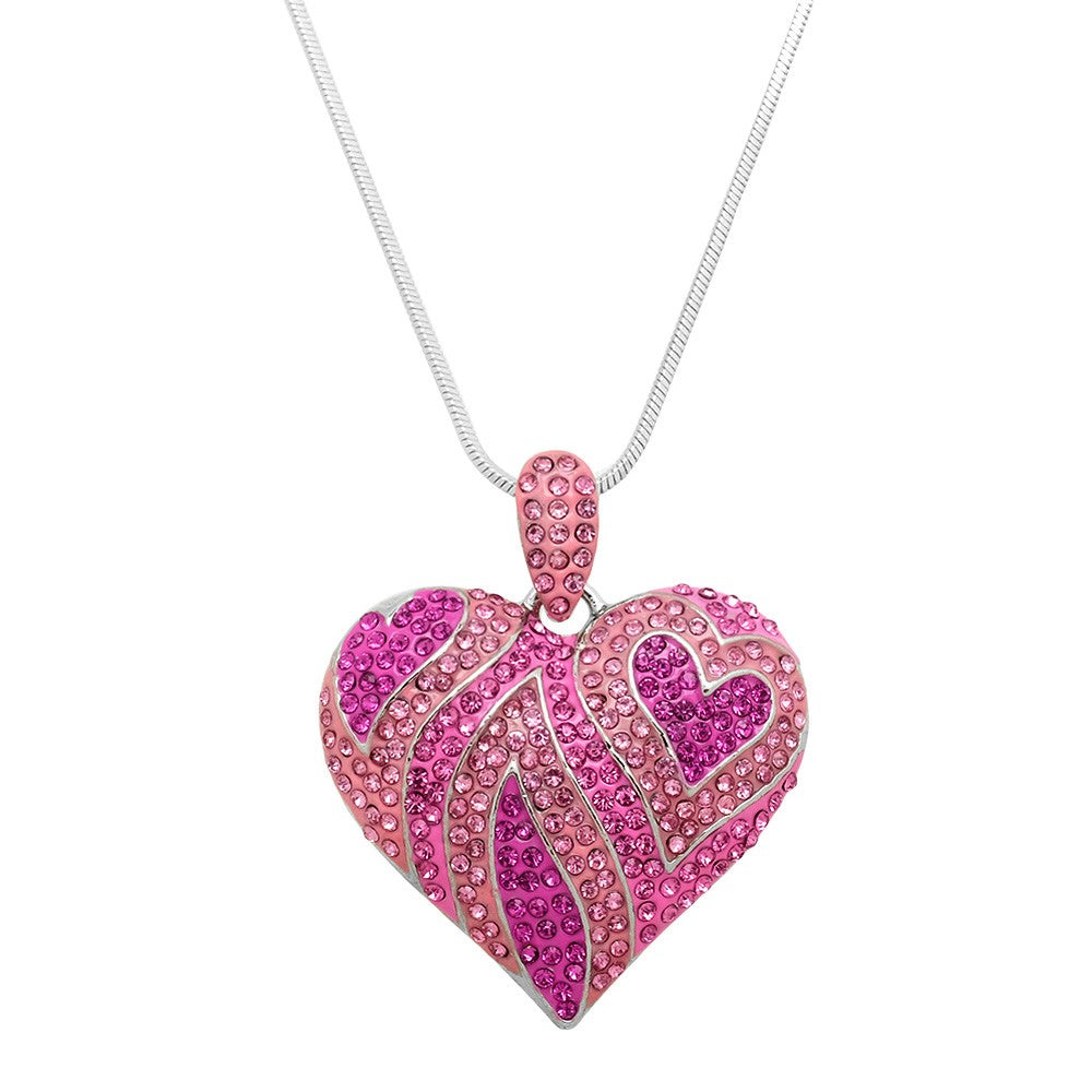 Joyful Pink Crystal Heart Shaped Bling Necklace - Lunga Vita Designs