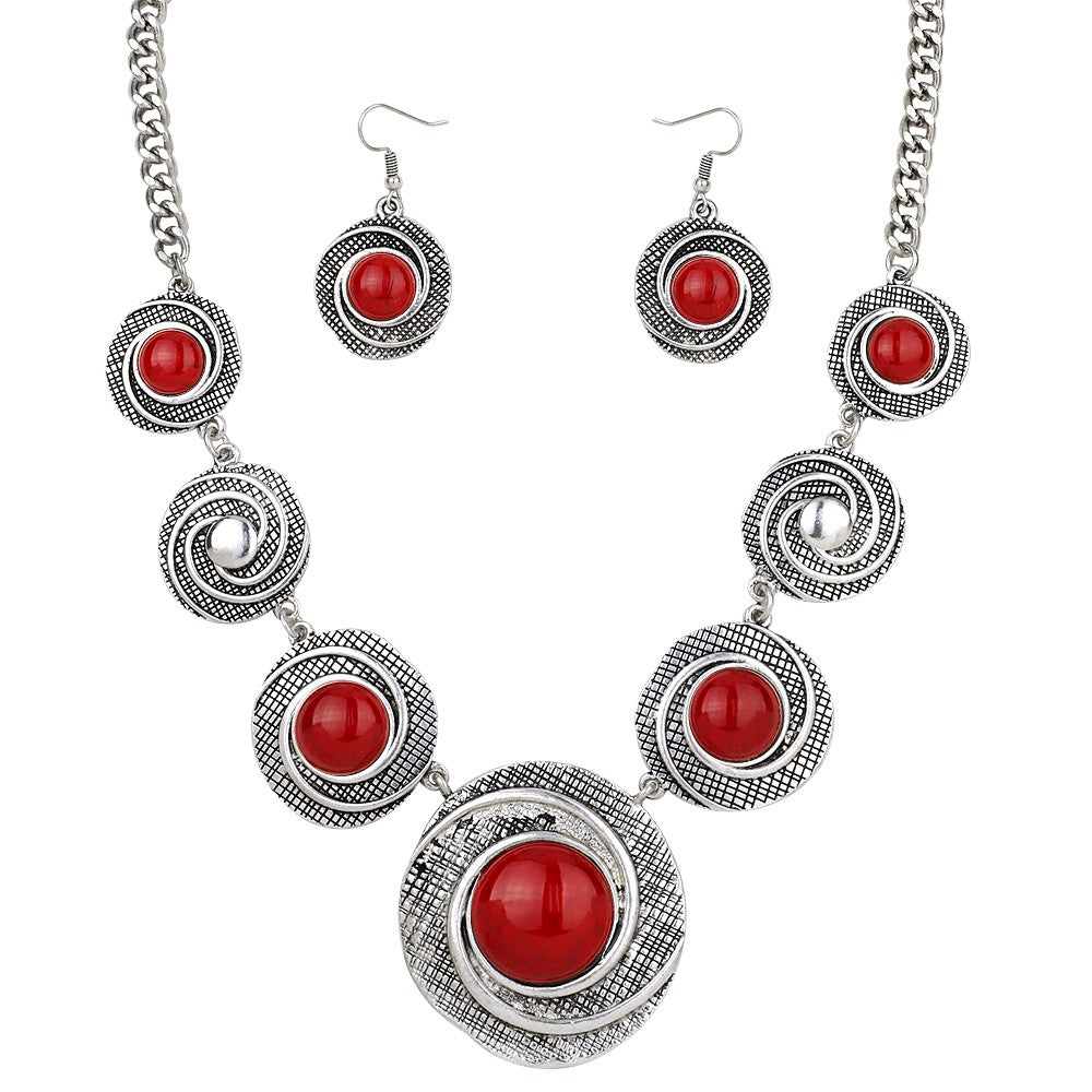 Patterned Silver Large Disk Necklace Set | Red - Lunga Vita Designs