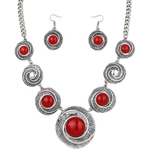 PATTERNED SILVER NECKLACE SET | RED