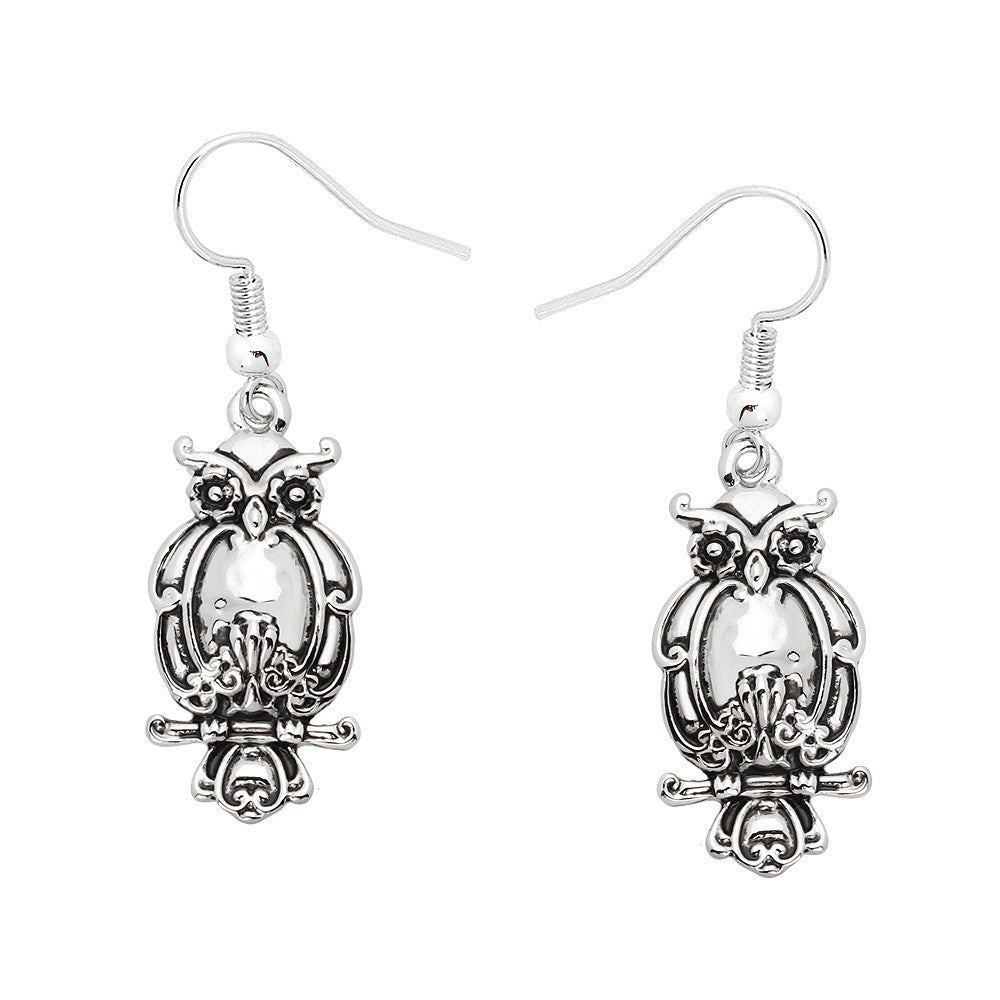 Owl Silver Dangle Earrings - Lunga Vita Designs