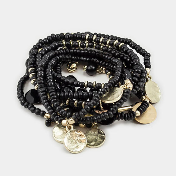 MULTILAYERED BEADED STRETCH BRACELET WITH CHARMS - BLACK