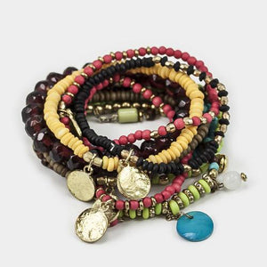 MULTILAYERED BEADED STRETCH BRACELET WITH CHARMS - MULTICOLORED 2