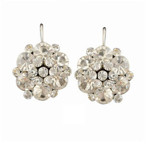CRYSTAL FLOWER CLUSTER LEVERBACK EARRINGS | CLEAR