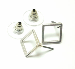 MINIMALIST OPEN SILVER SQUARE EARRINGS
