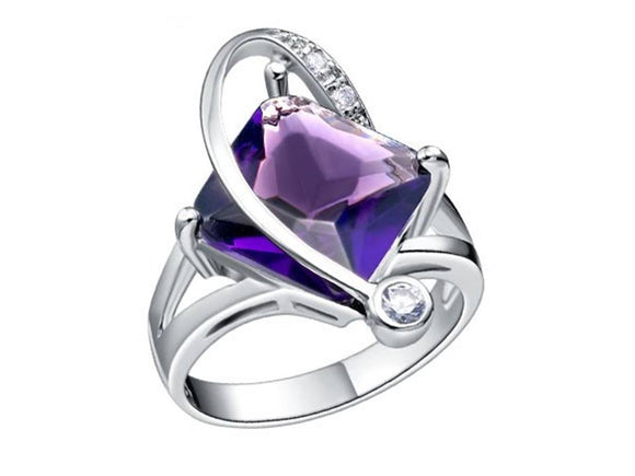 ELEGANT SIDE TWIST RING | AMETHYST - SIZE 7 1/2