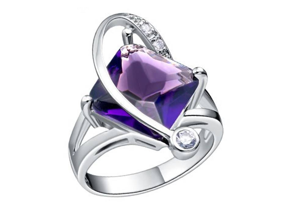 Side Twist Ring with Cubic Zirconia | Amethyst - Size 6 - Lunga Vita Designs
